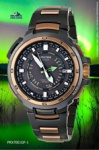 green sunrise sunset flash prx7001gf-1 protrek casio watch rose gold black
