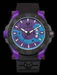 Meister Mens Prodigy Purple and Blue Stainless Watch - Black Rubber Strap - Purple Dial - PR109