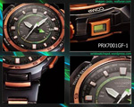 side view bottom back button protrek casio watch rose gold black