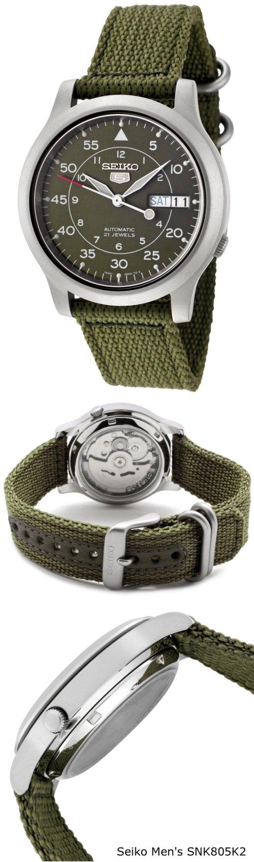 Seiko Men's SNK805K2 Automatic Green Dial Green Fabric Strap Watch
