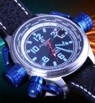 Tauchmeister 181T0 Tron Blue Glow Militär XL GMT - Worldtimer