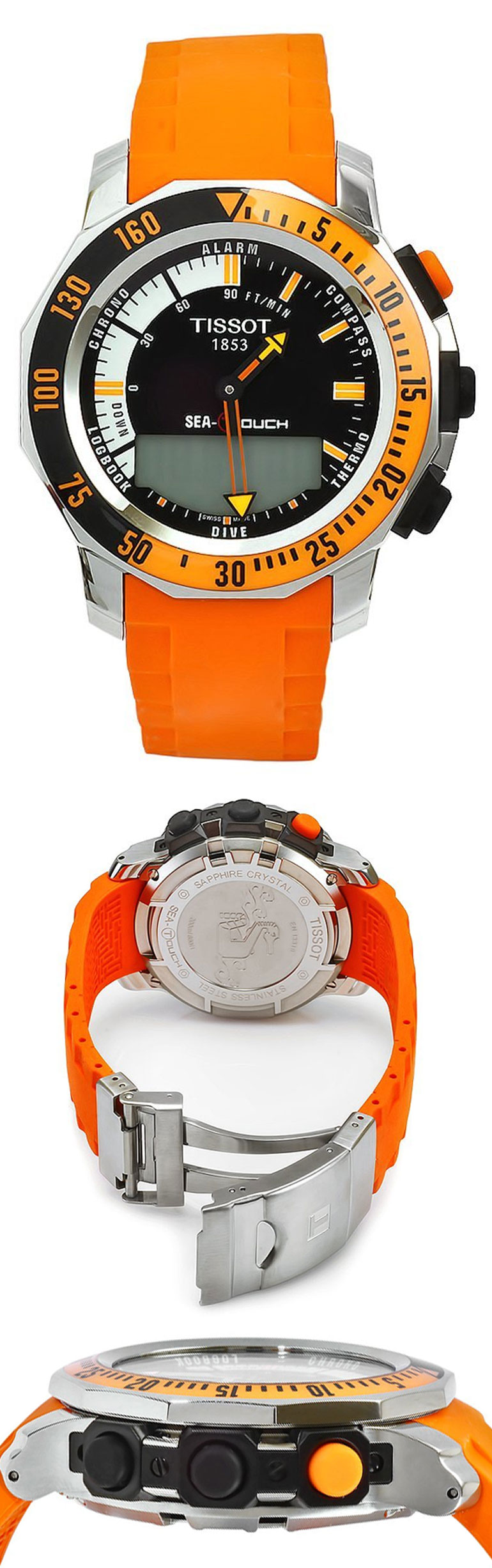 Tissot Men's T0264201728103 Sea-Touch Orange Rubber Multifunction Analog-Digital Dial Watch