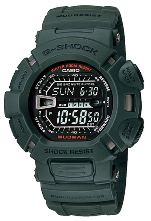 g-shock_g-9000-3v g9000-3v green mudman reverse display