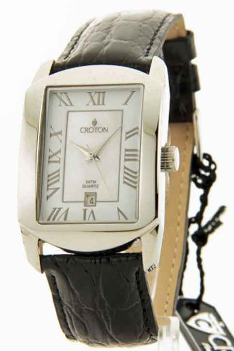Croton Black Croc-Look Leather MOP Date Watch CN307408SSMP