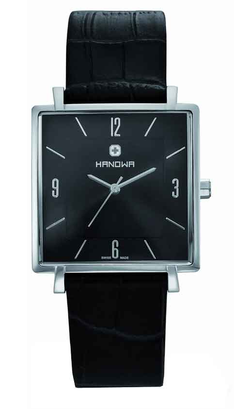 Hanowa Men's 16-4019.04.007 Eleganza Square Black Dial Leather Watch