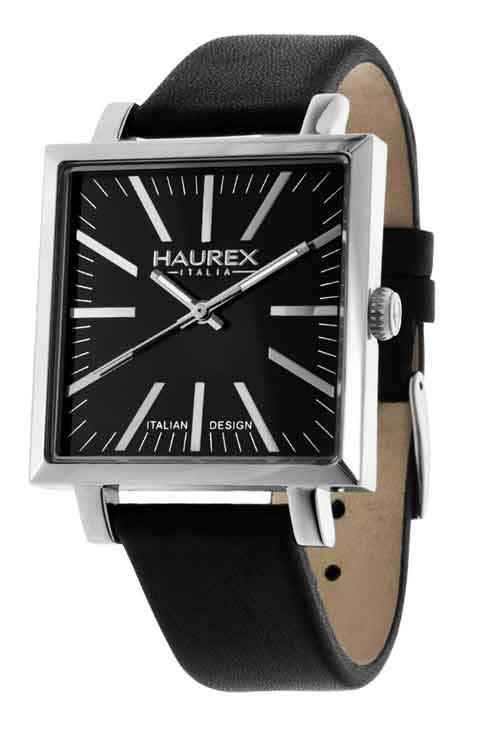 Haurex Italy Men's 6A375UNN Leaf Gent Square Black Dial Leather Watch