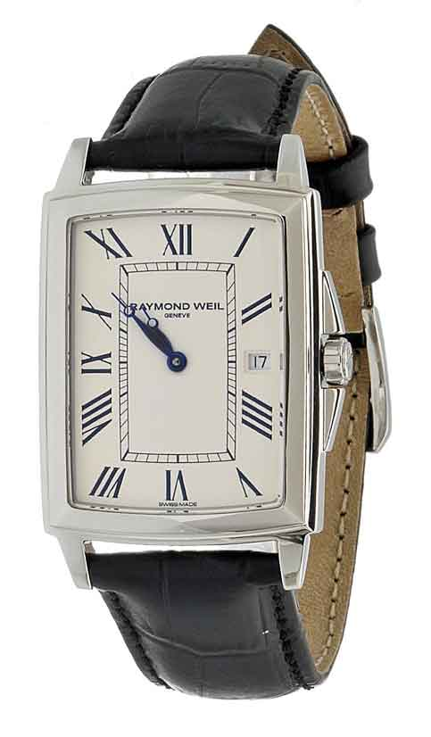 Raymond Weil Men's 5396-STC-00800 Tradition Stainless Steel Case Black Leather Strap with Crocodile Pattern