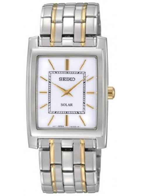 Seiko Two Tone Dress Solar Quartz White Dial Link Bracelet