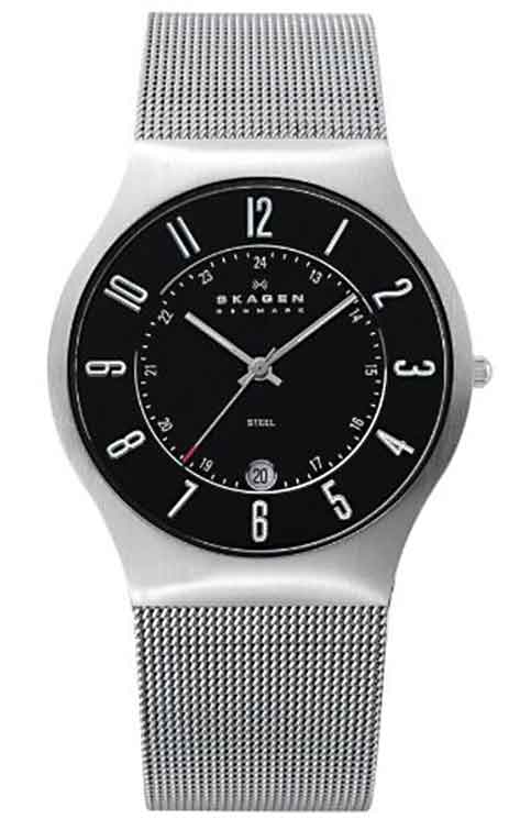 Skagen Denmark Mens Watch Black Dial with Red Hand #O233XLSSB