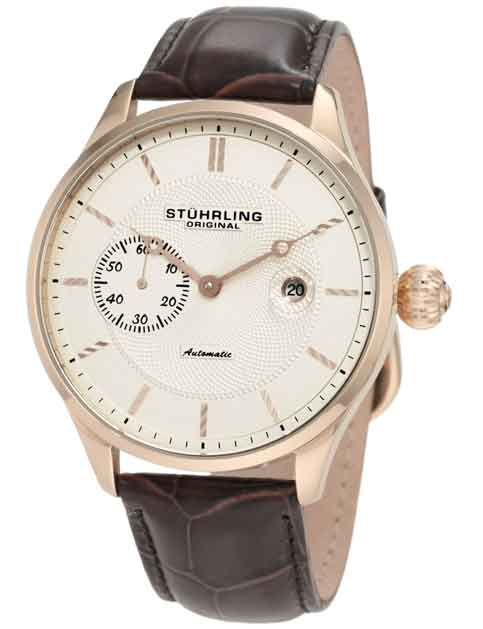 Stuhrling Original Men's 148B.3345K14 Classic Heritage Automatic Mechanical Date Rosetone Watch