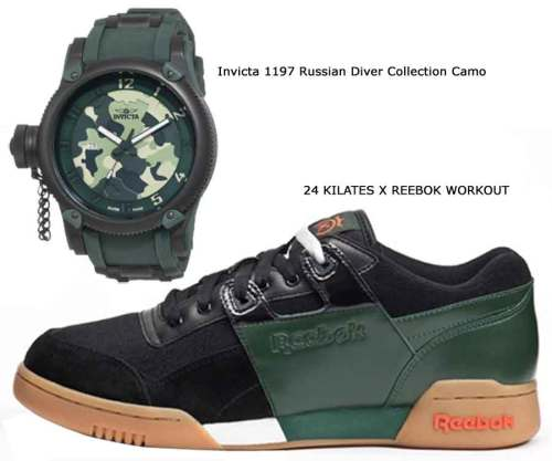 Invicta 1197 Russian Diver Collection Camo, 24 KILATES X REEBOK WORKOUt