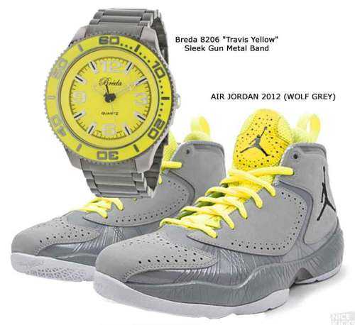 "Breda 8206 ""Travis Yellow"" Sleek Gun Metal Band, AIR JORDAN 2012 (WOLF GREY)"