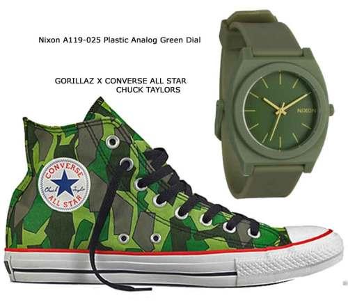 Nixon A119-025 Plastic Analog Green Dial, GORILLAZ X CONVERSE ALL STAR CHUCK TAYLORS