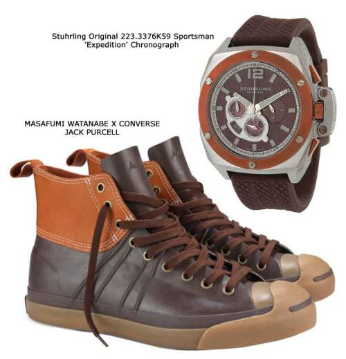 Stuhrling Original 223.3376K59 Sportsman 'Expedition' Chronograph, MASAFUMI WATANABE X CONVERSE JACK PURCELL