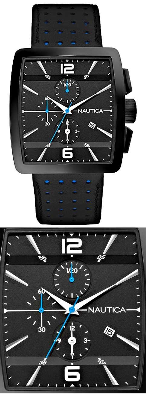 Nautica N07546 Leather Square Men's Analog Watch ...