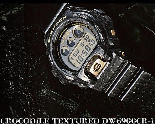 crocodile_-g-shock_dw6900cr-1 texture watch digital black & gold