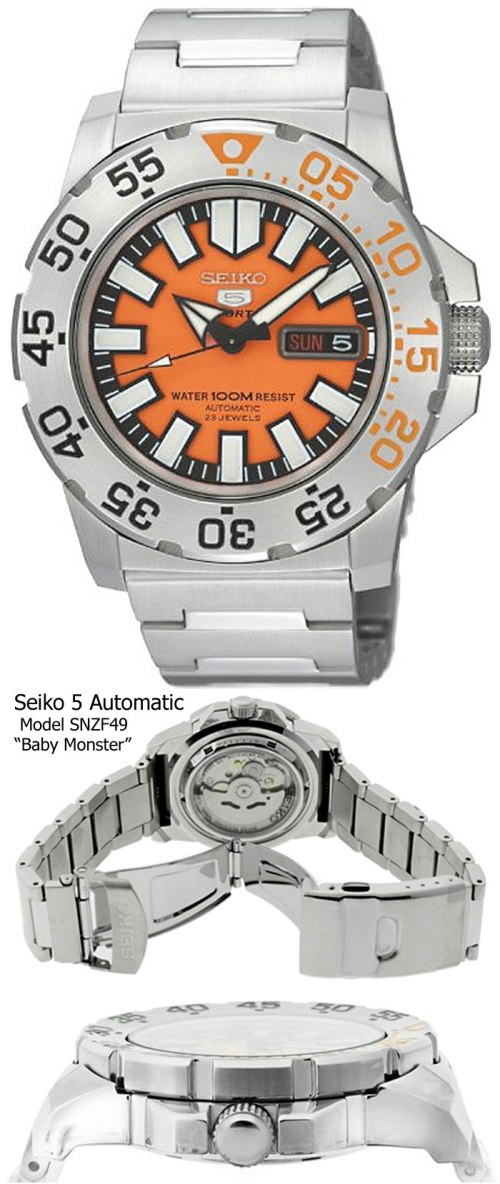snzf45 baby orange monster seiko deal sale bargain budget best buy watch diver style fashion