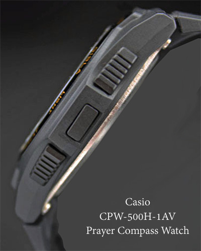 prayer compass watch casio 2012 2014 black side view back  strap braclet