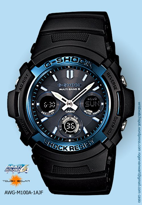 awg-m100a-1ajf_g-shock watch blue bezel ip