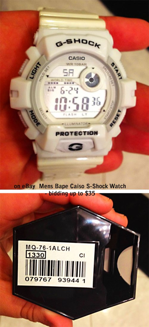 fake bape g-shocks, bootleg watches, counterfeit wristwatch, phony gshock, replica g-shock, knock-off, illegal,  sham scam, forgery bogus infringement