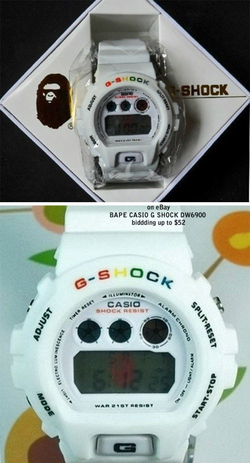 BAPE fake g-shocks, bootleg watches, counterfeit wristwatch, phony gshock, replica g-shock, knock-off, illegal,  sham scam, forgery bogus