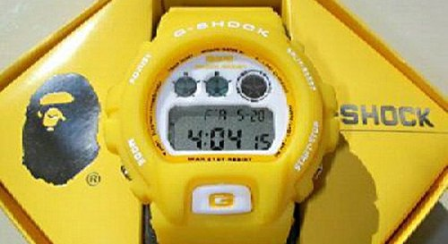 yellow bape fake g-shocks, bootleg watches, counterfeit wristwatch, phony gshock, replica g-shock, knock-off, illegal,  sham scam, forgery bogus