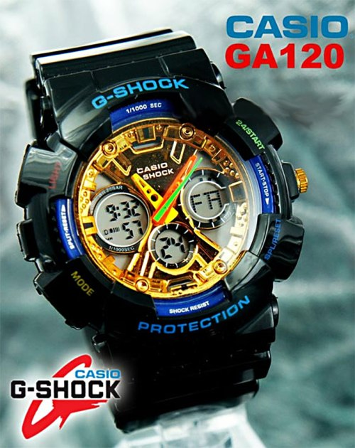 gold and blue ga120 fake g-shocks, bootleg watches, counterfeit wristwatch, phony gshock, replica g-shock, knock-off, illegal,  sham scam