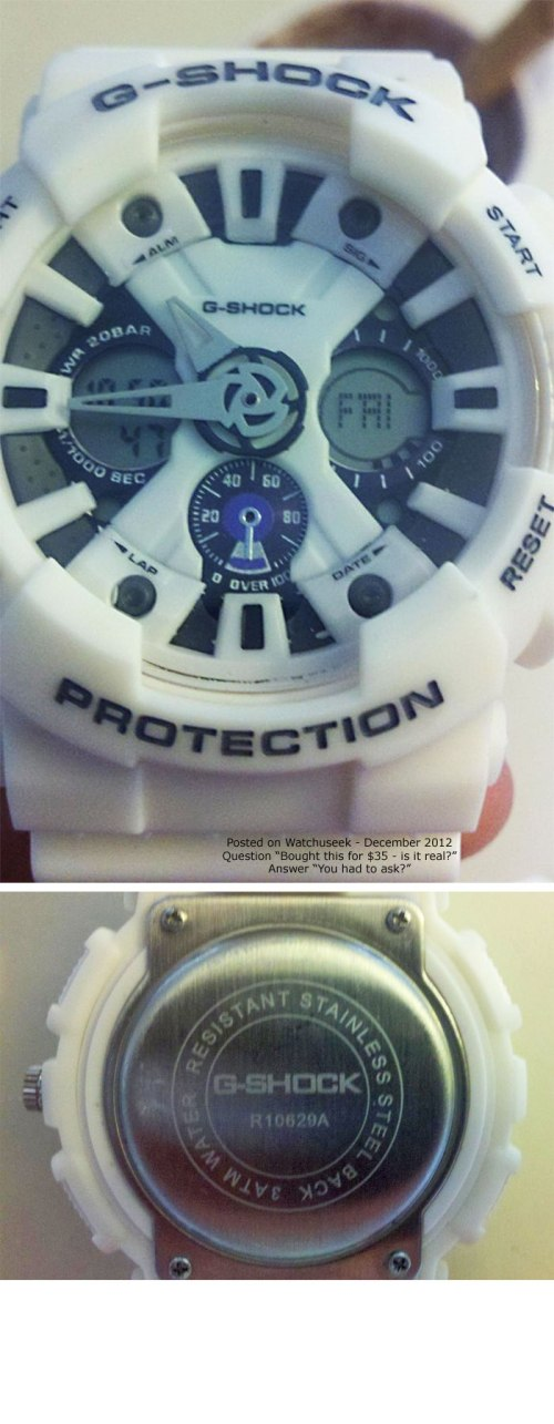 fake counterfeit g-shock ga120 white grey gray knock-off chinese cheap beware