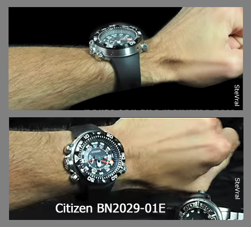 BN2029-01E_citizen worn seen on wrist promaster aqualand diver watch depth meter ecozilla