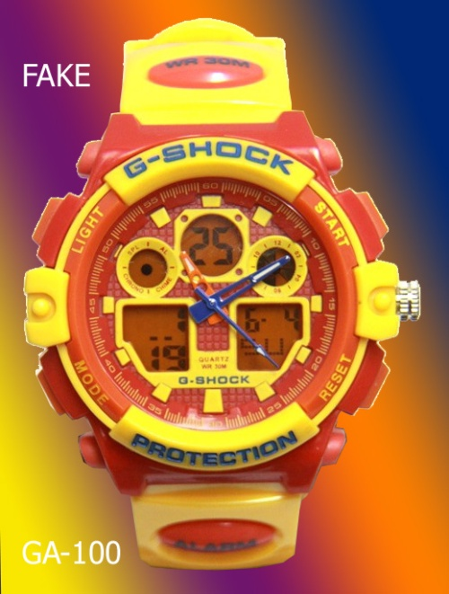 fake_g-shock_GA100 counterfeit knock-off 2014 yellow watch