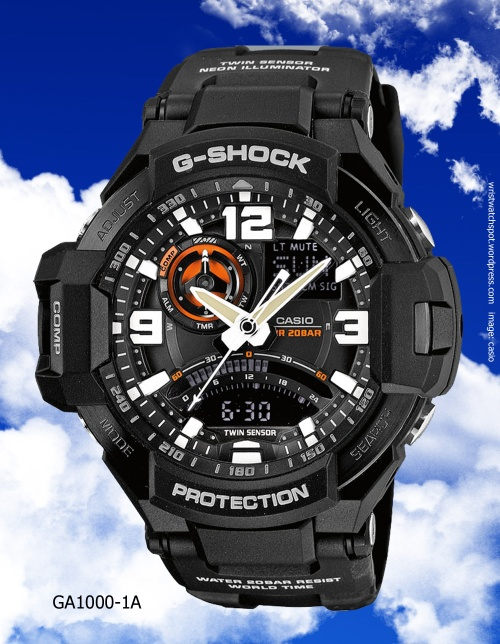 ga1000-1a g-shock black, gravity defyer, aviation,sky cockpit