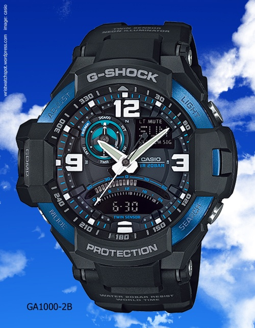 g-shock ga1000-2b blue watch sky cockpit aviation popular watch