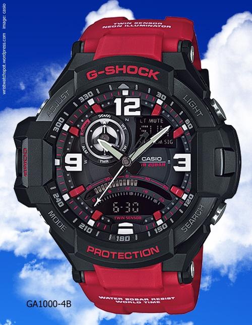 aviation g-shock ga111-4b red watch