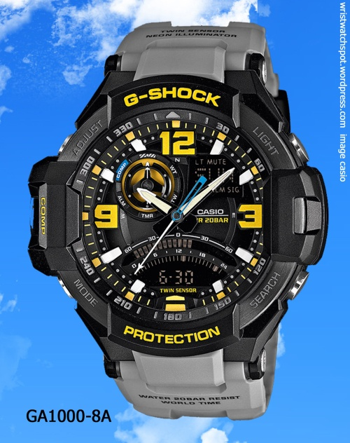 gray grey aviation g-shock watch yellow black dial casio 2014