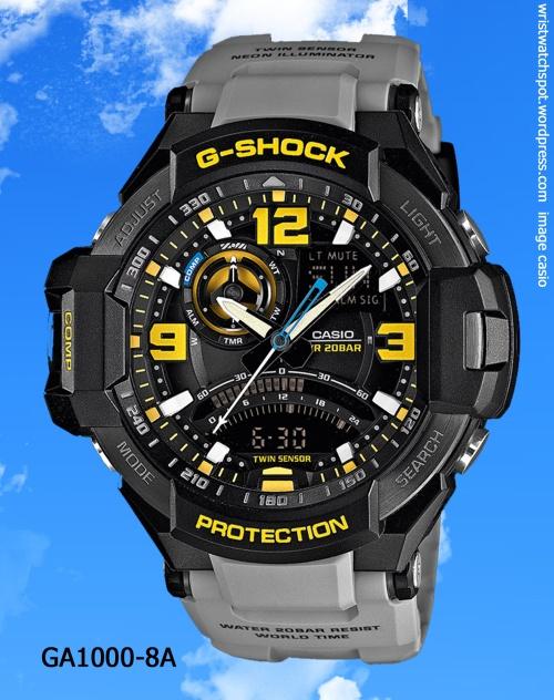 gray grey aviation g-shock watch yellow black dial casio 2014