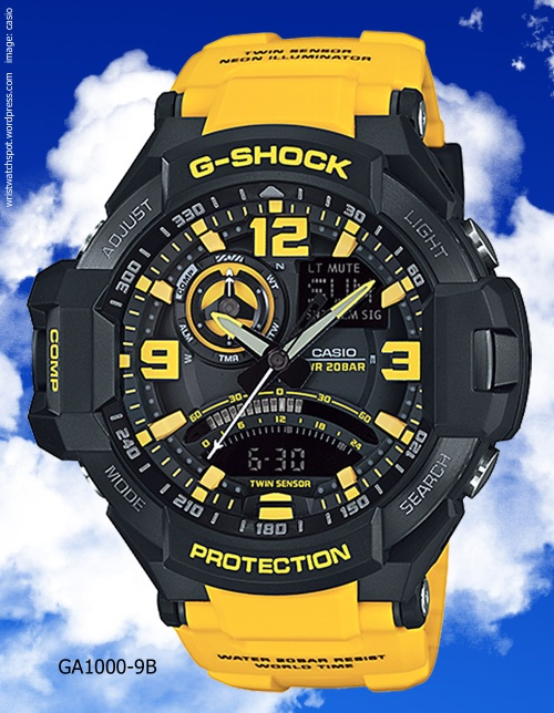 aviation watch g-shock sky cockpit yellow black 2014
