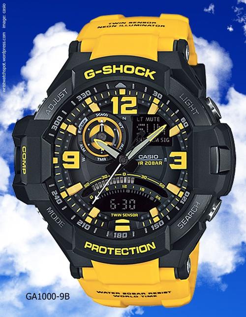 aviation watch g-shock sky cockpit yellow black 2014