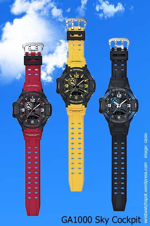 ga-1000_g-shock_2014 red, yellow, black, sky cockpit, aviation series, watch,