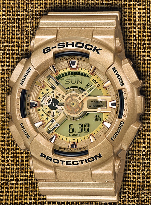 GA-110GD-9A_g-shock_4 2014 gold crazy strap band dial face