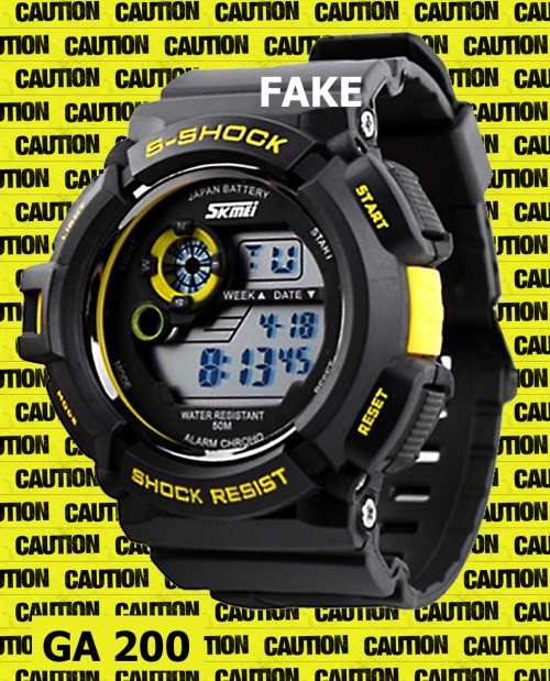replica  counterfeit ga-200_fake-g-shock_2014_3black yellow watch