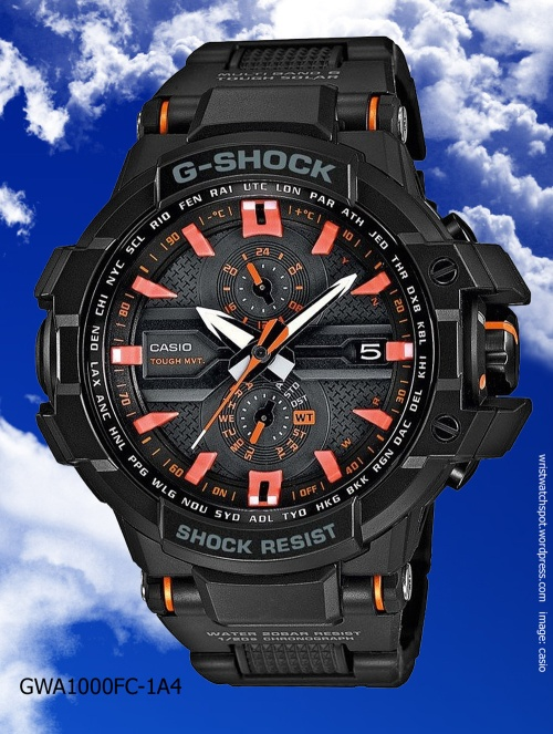 gwa1100fc-1a4 g-shock aviation watch 2014 black orange dial