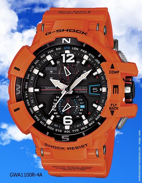 gwa1100-4a g-shock orange watch aviation sky cockpit