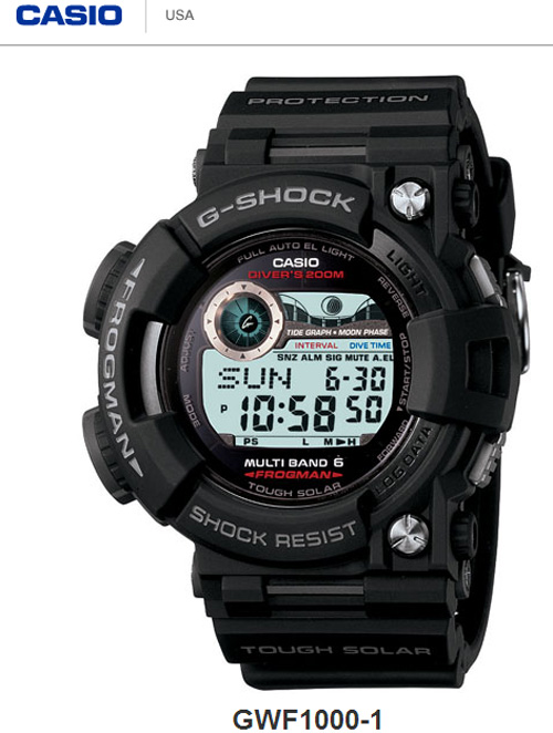 gwf1000-1 frogman g-shock basic model black watch