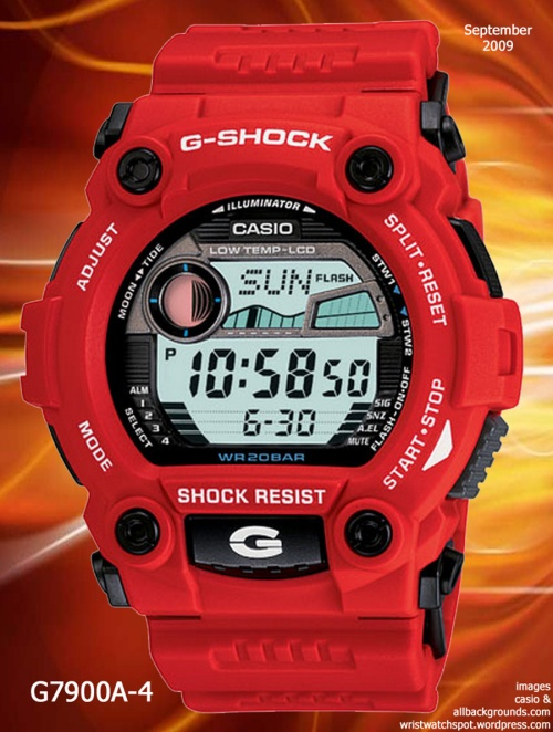 g7900a-4 g-shock watch red white rescue men