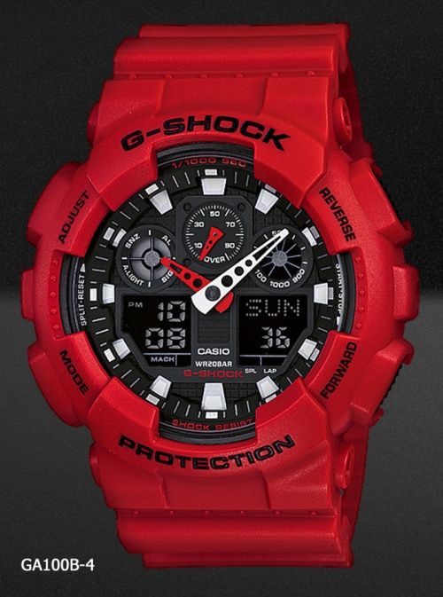 ga100b-4 men in rescue red white black watch g-shock