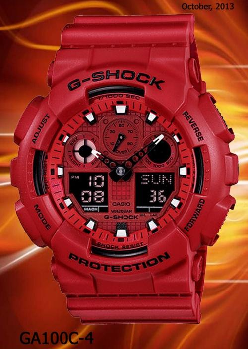 ga100c-4 g-shock men in rescue red white watch