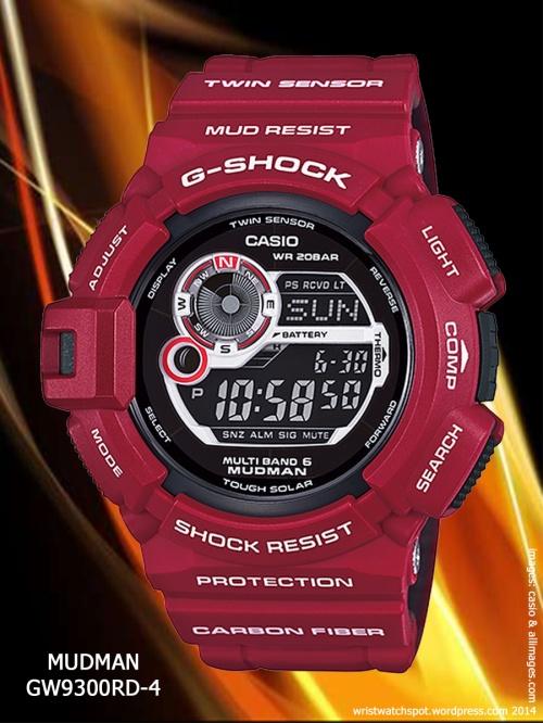 Gulfman GW9110RD-4, Rangeman GW9400RD-4,  red watch g shock