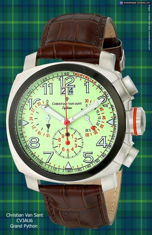 christian_van_sant_CV3AU6_G swiss watch chrono green brown leather