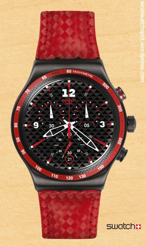 swatch switzerland swiss watch rosso fuoco yvm401 $185 irony