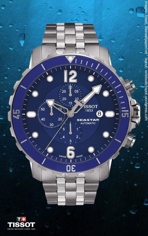 T0664271104702 seastar blue automatic $1500 swiss watch tissot